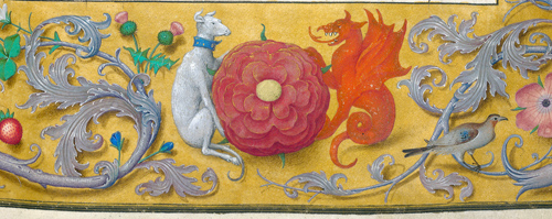 Rose with hound and dragon