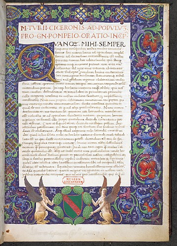 Illuminated initial and full border with heraldic arms