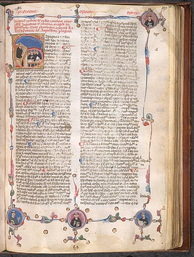 Historiated initial and roundels of the author(?) and pupils