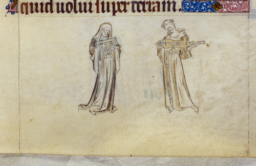 Monk and nun playing instruments