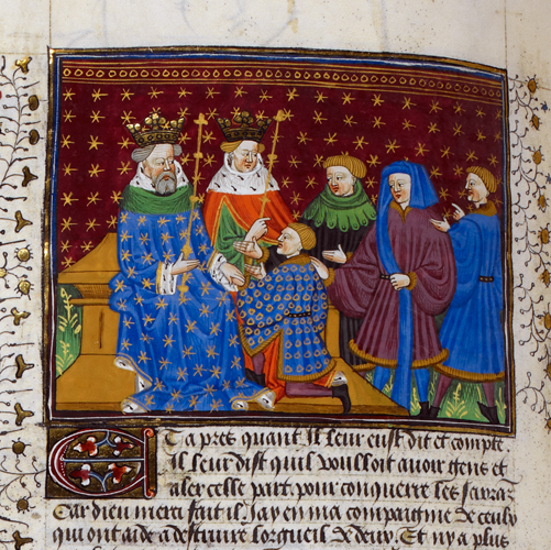 Ponthus petitioning the kings of England and Scotland