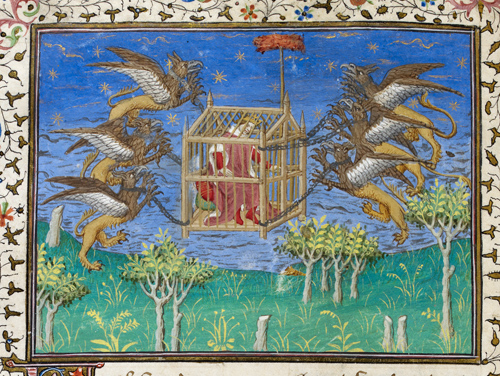 Alexander being carried by griffins