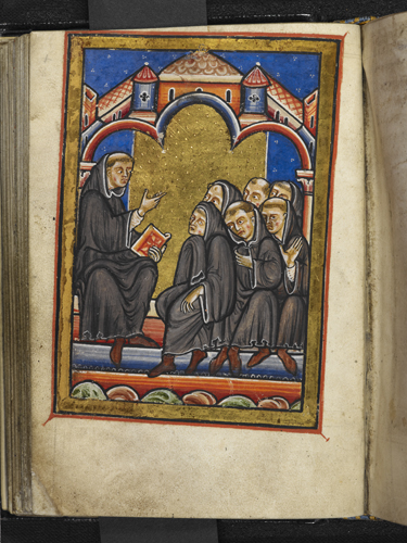 Cuthbert teaching at Lindisfarne
