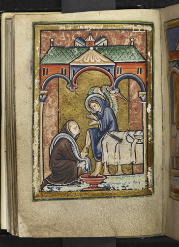 Cuthbert washing an angel's feet
