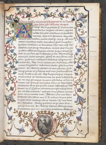 Decorated initial, arms, and full border