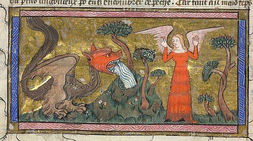 Dragon attacking a woman
