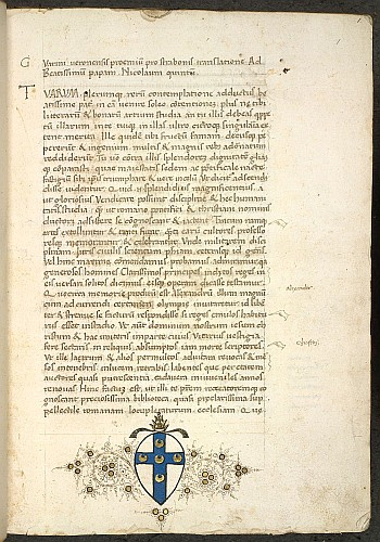 The beginning of the text, with the arms of Pope Pius II