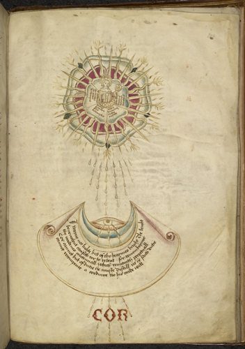 Emblem of Percy moon receiving light from the Tudor sun