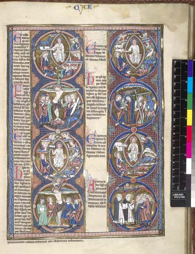 Biblical scenes and moralisations in a series of roundels, ...