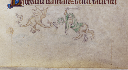 Grotesque and dragon