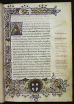 White vine historiated initial and border