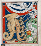 Men battling with a dragon