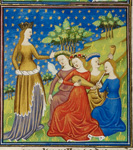 Queen with four women