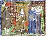 King  with courtiers and monks