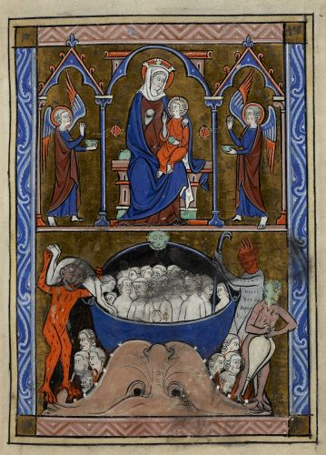 The Virgin and Child; souls in Hell