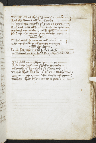 The 'Short Charter of Christ'; 'Behold man what thou art'