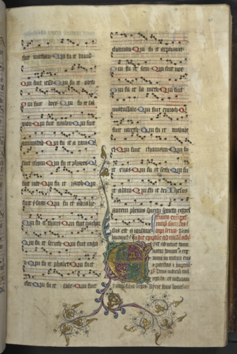 Illuminated initial and musical notation
