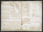 f. 31, displayed as an open bifolium with f. 32v: notes and sketches