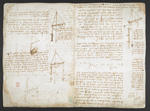 f. 31v, displayed as an open bifolium with f. 32v: notes and diagrams