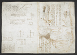 f. 36, displayed as an open bifolium with f. 39v: notes and sketches