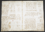 f. 40, displayed as an open bifolium with f. 41v: notes and diagrams