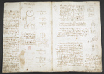 f. 41v, displayed as an open bifolium with f. 40: diagrams and notes