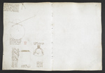 f. 47v, displayed as an open bifolium with f. 56: diagram and sketches