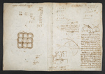 f. 71v, displayed as an open bifolium with f. 70: note and geometrical sketch