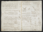 f. 104, displayed as an open bifolium with f. 107v: sketches and diagrams