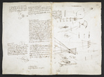 f. 112, displayed as an open bifolium with f. 115v: diagrams, skecth