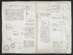 f. 121v, displayed as an open bifolium with f. 120: diagrams and sketches