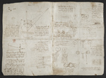 f. 134v, displayed as an open bifolium with f. 135: diagrams