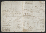 f. 135, displayed as an open bifolium with f. 134v: sketches and diagrams