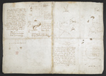 f. 135v, displayed as an open bifolium with f. 134: sketches and diagrams