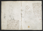 f. 137, displayed as an open bifolium with f. 136v: sketch and diagram