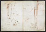 f. 177v, displayed as an open bifolium with f. 180: sketches