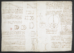 f. 219, displayed as an open bifolium with f. 222v: diagrams