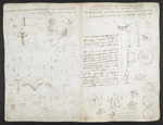f. 221v, displayed as an open bifolium with f. 220: sketches and diagrams