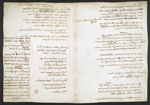 f. 234v, displayed as an open bifolium with f. 235: notes