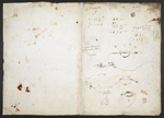 f. 253, displayed as an open bifolium with f. 256v: notes and calculations
