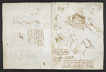 f. 257, displayed as an open bifolium with f. 262v: sketches and notes