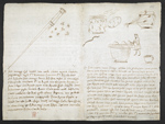 f. 258v, displayed as an open bifolium with f. 261v: notes and crude sketches