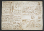 f. 264, displayed as an open bifolium with f. 269v: notes and sketches