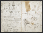 f. 282, displayed as an open bifolium with f. 283v: sketches and notes