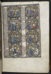 Biblical scenes and moralisations in a series of eight roundels.