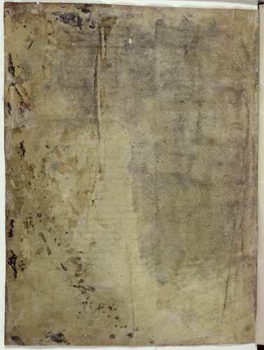 Folio with illegible inscriptions on the upper part