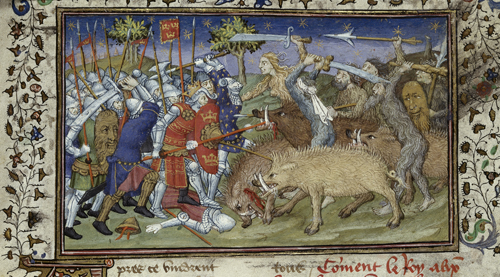 Battle with boars and savages