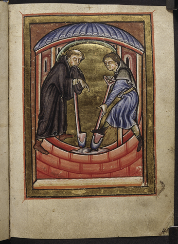 Cuthbert digging with a monk