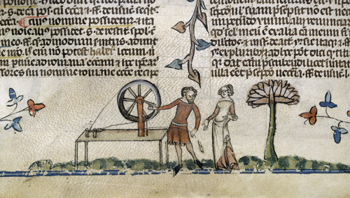 Man and woman by a spinning wheel