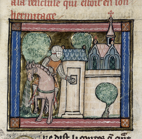 Sir Percivale arriving at a hermitage